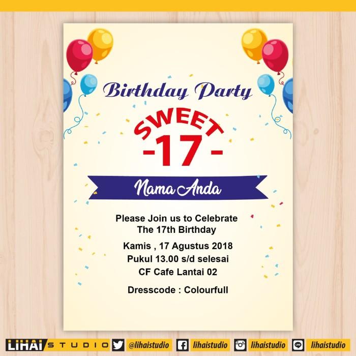 Jual Cetak Undangan Ulang Tahun Sweet Seventeen 006 Kota Palembang