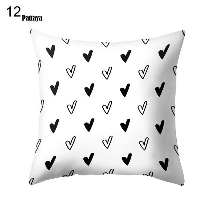 Jual Sarung Bantal Sofa Simple Warna Hitam Putih Untuk Dekorasi