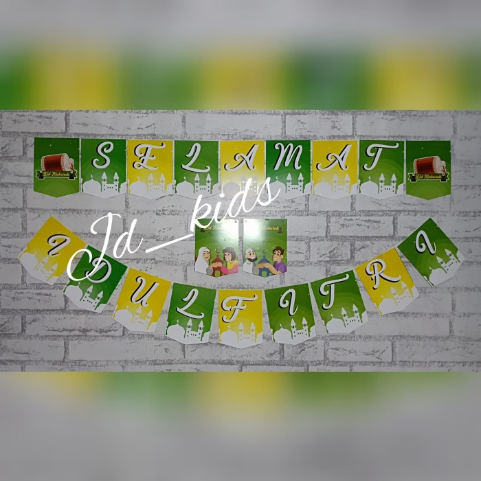 Jual Banner Gantung Bunting Flag Set Tulisan Selamat Idul Fitri