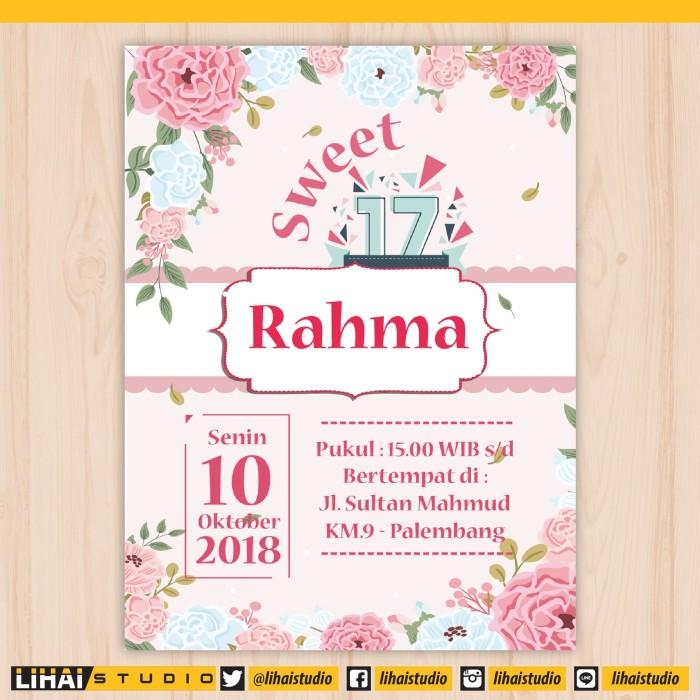 Jual Cetak Undangan Ulang Tahun Sweet Seventeen 017 Kota Palembang