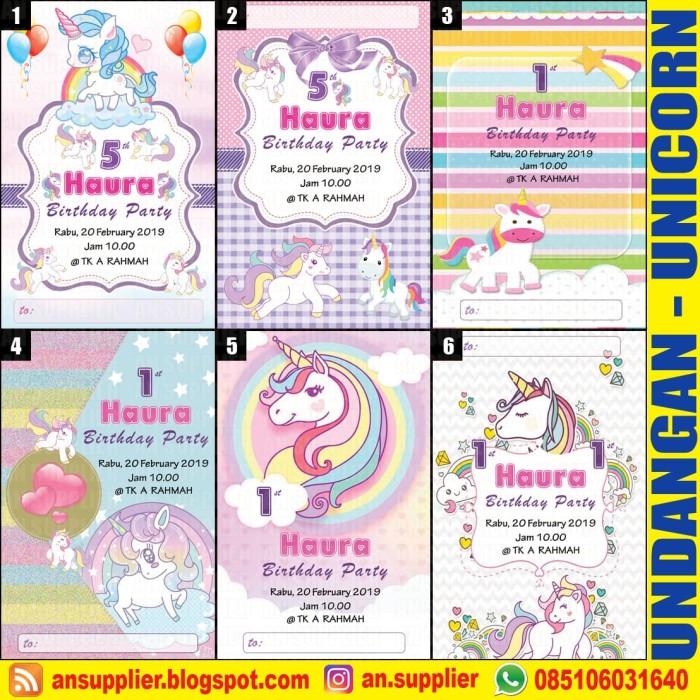 Jual Kartu Undangan Ultah Unicorn A Ulang Tahun Kota Surabaya
