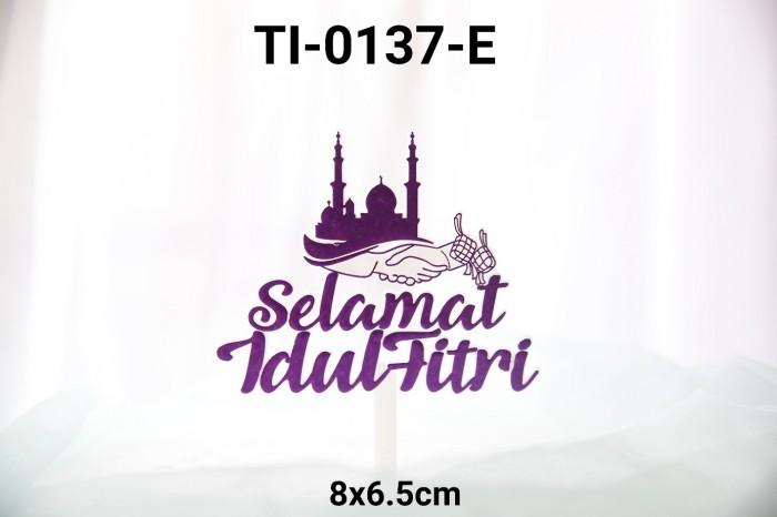 Jual Ti 0137 E Cake Topper Tulisan Idul Fitri Lebaran Ungu