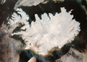 Postcard of satellite image of Iceland, covered in ice