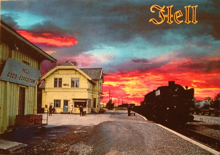 Postcard of Hell, Norway, with red sunset