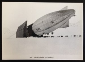 Postcard of zeppelin at a hangar in Svalbard