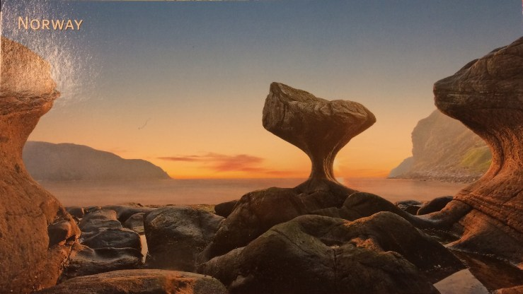 Postcard of strange rock formations on Norway's coast