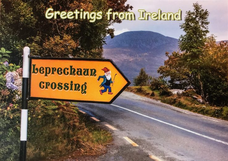 image of a leprechaun crossing sign