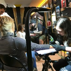 Mother and daughter getting matching tattoos