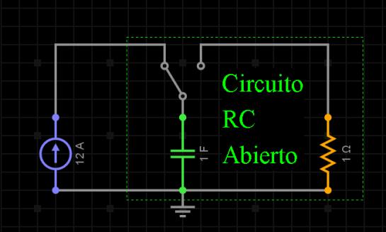 Circuito RC abierto, sin fuente de voltaje o corriente