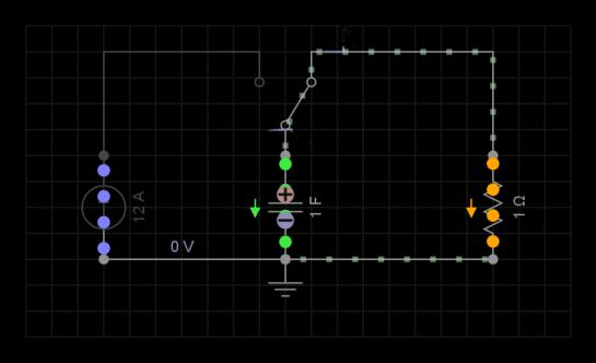 Circuit RC para una marcapaso de corazón, fase de descarga del capacitor