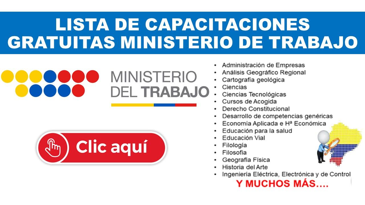 Lista de Capacitaciones Gratuitas Ministerio de Trabajo