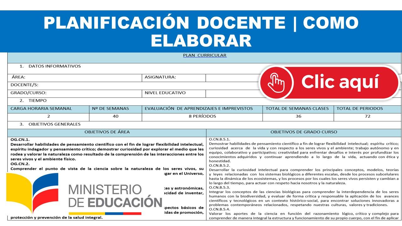 Planificación Docente Ministerio de Educación