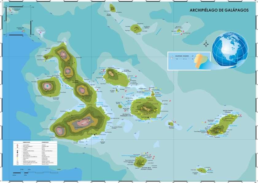 Mapa de las islas Galápagos.