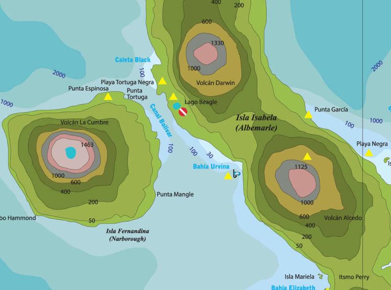 Bahía Urbina en el mapa de Galápagos.
