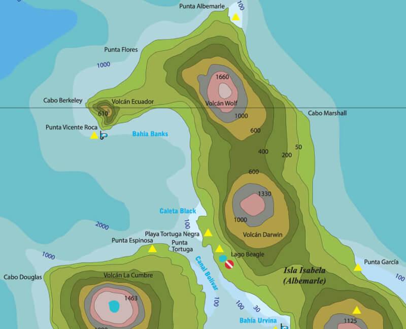 Mapa del norte de la isla Isabela.