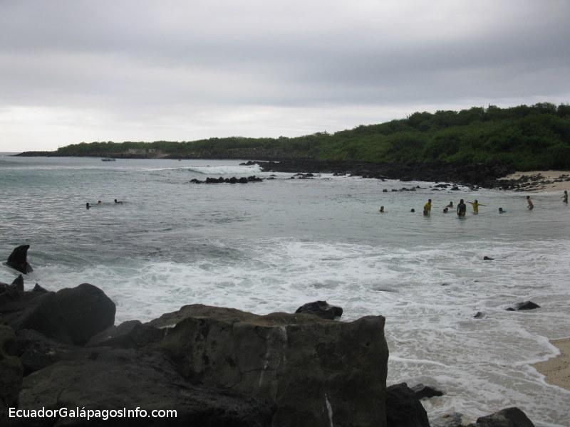 Turistas en el mar.