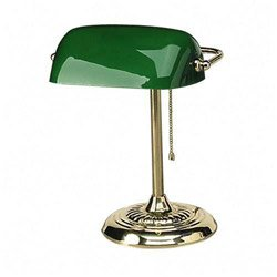 Ledu L557BR Traditional Banker's Lamp, 14 High, Green Glass Shade, Brass Base