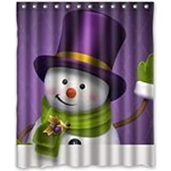 Cartoon DIY NEW Shower Curtain Christmas Cute Purple Hat Snowman Custom 60inches X 72inches