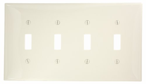 Leviton PJ4-T 4-Gang Toggle Switch Wallplate, Midway Size, Light Almond
