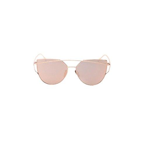 Yistu Twin-Träger klassische Frauen Metallrahmen Spiegel Sonnenbrille Cat Eye Brillenmode
