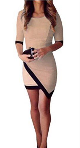 Finejo Damen Hot Sexy Cocktailkleid Abendkleid Schlank Partykleid Bodycon Kleid Clubwear