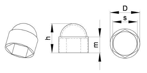 100 pi/èces FAH113-L ajile plastique NOIR Cache vis /écrou de protection M8 clef de 13 mm