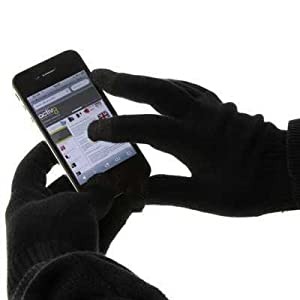 TECH TOUCH GLOVES WITH SILVER COATED NYLON FIBRE TIPS - BLACK - IPHONE 4/4S - GALAXY S2 - HTC SENSATION AND ALL SMARTPHONES WITH TOUCHSCREENS PART OF THE QUBITS ACCESSORIES RANGE