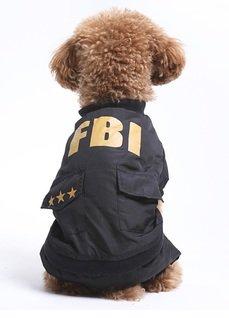 犬の冬服 防寒コート FBI捜査官 (M)