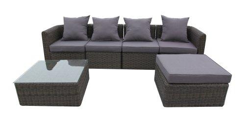 Ambientehome 63924 6-teilig Loungegruppe Aversa braun - bicolor, Kissen dunkelgrau, Sitzgruppe Poyrattan