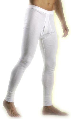 HERMKO 3540 Herren lange Unterhosen mit Eingriff und Weichbund aus 100% Baumwolle in Feinripp, weiß kochfest Beinabschluss mit 10cm Borte