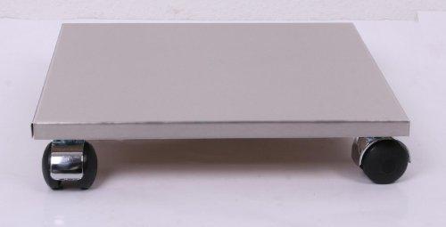 Möbelroller / Pflanzenroller 40x40 cm, Edelstahl, 120kg, Chromrollen