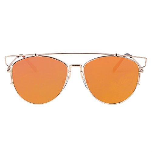 VIVIENFANG Flat Lens Mirrored Aviator Sunglasses Metal Frame Cateye Sunglasses 86472