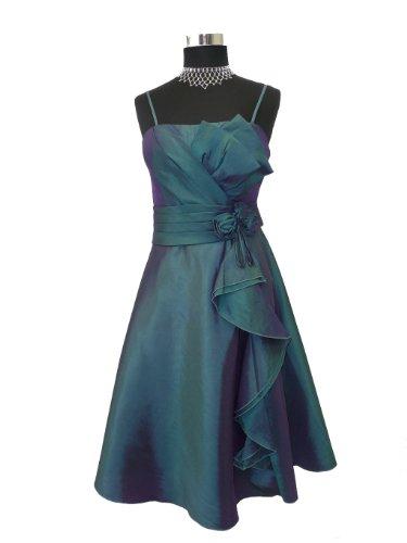SandriLine Kurzes Taft Abendkleid Cocktailkleid S121 Damen Lila-Blau Gr. 34