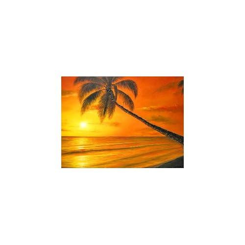 バリアート絵画 M 横 M.Santo 『椰子の木とサンセットビーチ』 アジアン雑貨