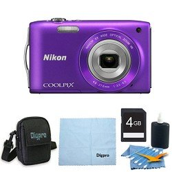 Nikon COOLPIX S3300 16MP 6x Opt Zoom 2.7 LCD 4GB Purple Bundle