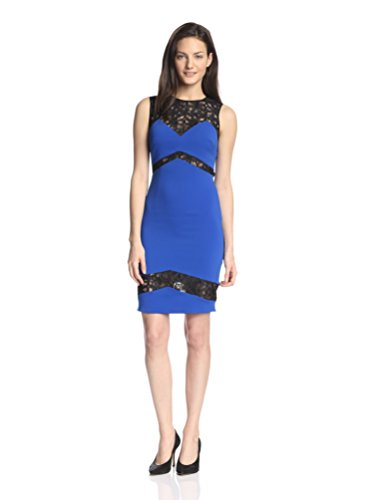 Jay Godfrey Frehley Colorblock Sheath Dress with Lace - Cobalt/Black