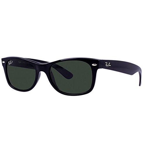 Ray-Ban RB2132 New Wayfarer Polarized Sunglasses,Black/Green Polarized,52 mm
