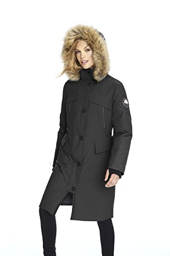 Alpinetek Women's Down Long Parka Coat (Large, Black)