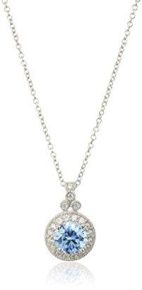 Platinum-Plated-Sterling-Silver-Swarovski-Zirconia-Round-Cut-Antique-Pendant-Necklace-18