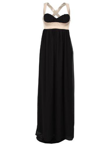 Elise Ryan Abendkleid lang schwarz beige