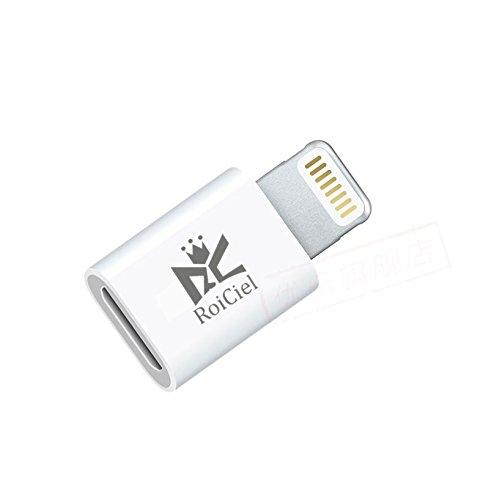 RoiCiel ロイシエル  iPhone 7 / iPhone 7PLUS /iPhoneSE iPhone6s iPhone6s Plusなど対応充電と高速データ転送Lightning変換アダプタ microUSB ホワイト RC83-MFIATWT