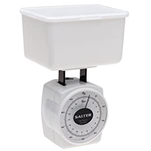 Salter 16-Ounce Food Scale with Storage Container and Lid, White