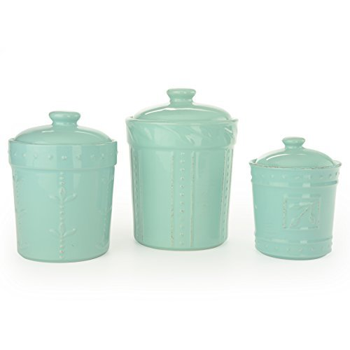 Signature Housewares Sorrento Collection Canisters (Set of 3), Aqua Blue