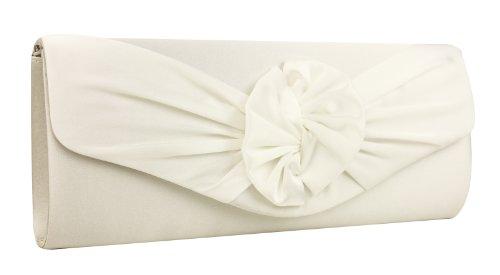 Edle Satin Clutch Tasche Abendtasche, Ivory-Weiß