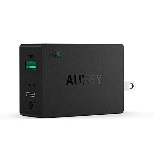 Quick Charge 3.0 / USB-CAUKEY スマホUSB充電器 ACアダプター 2ポート AiPower搭載 USB C ケーブル付属 同時急速充電可能 iPhone/iPad/Galaxy/Xperia/Nexus/LGなどに対応 ブラック PA-Y2