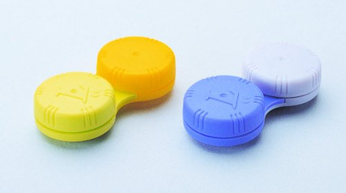 Flachbett Kontaktlinsenbehälter - DUAL FARBEN sortiert ~ (4 Stück)