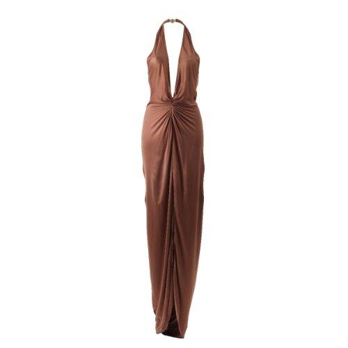 Versace Neckholder Abendkleid Kleid in braun rosa