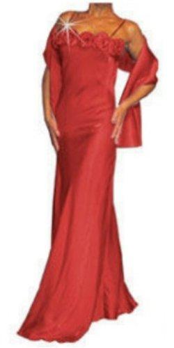 Abendkleid lang mit 7 Blumen rot Größe 38