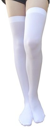 AM-Landen-White-Thigh-HighOver-Knee-High-Solid-Opaque-Socks