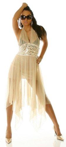 HeiSSeS Orientalisches Minikleid Rückenfrei Beige Top Neck Mini Kleid mit Durchblick Gr. 34 36 38